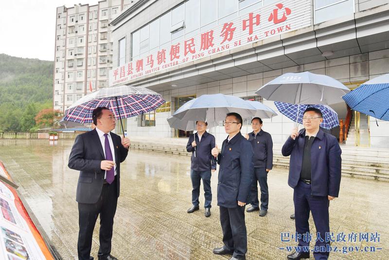 汪武在何平陪同下前往平昌县驷马镇调研党史学习教育开展情况